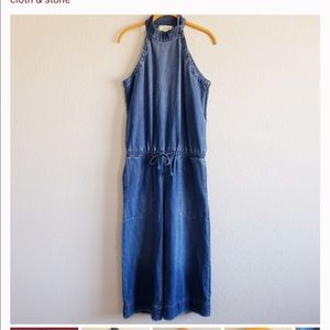 Anthropology cloth and stone denim jumpsuit